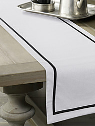 Black / Off-white Linen Rectangular Table Runners