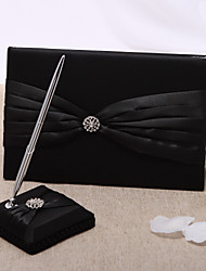 Black Wedding Guest Book And Pen Set With Rhinestone Sign In Book