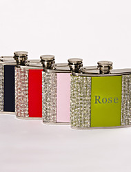 Gift Groomsman /Bridesmaid Personalized Rhinestone 5-oz Flask (More colors)