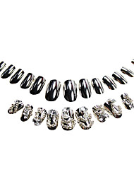 24Pcs Silver Rhinestone Studded Nail Tips With