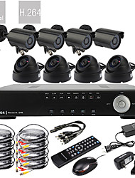 8CH Real Time H.264 600TVL High Definition CCTV DVR Kit (8 Waterproof Day Night CMOS Cameras)