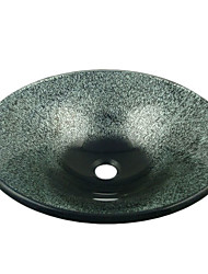Contemporary Round Tempered Glass Bathroom Sink with Water Drain and Mounting Ring