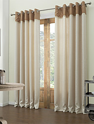 Modern Two Panels Solid Beige Living Room Polyester Blackout Curtains Drapes