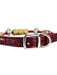 Кожа и плетеная веревка с прелестями ошейник для собак и кошек (красный)