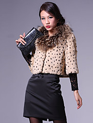 3/4 Sleeve Raccoon Fur Collar Rabbit Fur Casual/Party Jacket