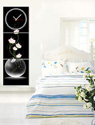 moderno reloj de pared floral rosa del estilo de la lona 3pcs