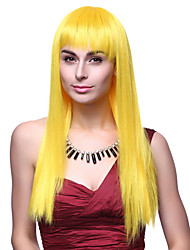 Capless Top Grade Quality Synthetic Long Straight Yellow Hair Wigs