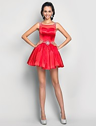 Cocktail Party / Homecoming / Prom / Sweet 16 Dress - Short Plus Size / Petite A-line / Princess Scoop Short / Mini Tulle / Charmeuse with