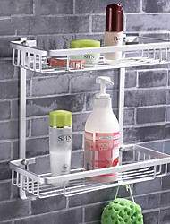 Space Aluminium Double Square Storage Basket with Hooks
