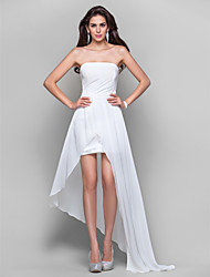 Sheath / Column Strapless Short / Mini Asymmetrical Chiffon Prom Formal Evening Dress with Draping Side Draping