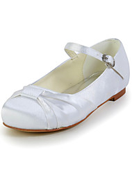 Girls' Flats Comfort Satin Stretch Satin Spring Summer Fall Wedding Comfort Bowknot Buckle Flat Heel Pink Silver Blue Gold Purple Flat
