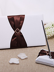 White Wedding Guest Book And Pen Set With Rhinestone Sign In Book