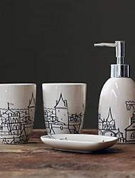 Nostalgia Veneto Ciudad Sketches pintado de cerámica Set de baño
