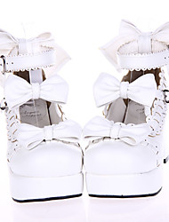 Стильные туфли с бантами, в стиле Лолиты, с каблуком высотой 7.5см