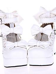 Lolita Shoes Sweet Lolita Princess High Heel Shoes Bowknot 7.5 CM For PU Leather/Polyurethane Leather Polyurethane Leather