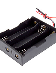"Plastic Battery Storage Box Case Holder for 3x18650 Black with 6"" Wire Leads"