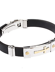 Men's Cross Stainless Steel Leather Bracelet