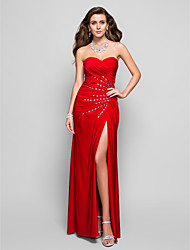 Prom Formal Evening Military Ball Dress - Open Back Sheath / Column Strapless Sweetheart Floor-length Jersey withCrystal Detailing Criss