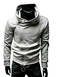 Men's Cooton Oblique Zipper High-necked Fleece with Hood(Gray)