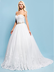 Lan Ting Ball Gown Plus Sizes Wedding Dress - Ivory Chapel Train Sweetheart Lace/Tulle