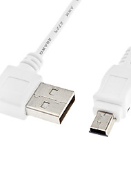 A USB Male 90 Degree to Left to Mini USB Male Data Cable White (0.5m)
