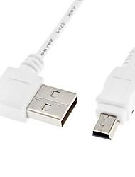 A Male USB de 90 grados a la izquierda para Mini USB cable de datos masculino blanco (0,5 m)