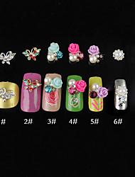 5PCS 3D enchido diamante Nail Art Decorações 1,2 centímetros (cores sortidas)