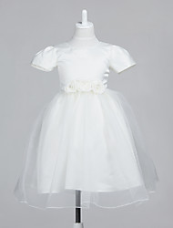 Lovely Short Sleeve Tulle/Satin Evening/Wedding Flower Girl Dress With Flowers