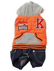 Dog / Cat Pants Blue / Orange Winter Sport