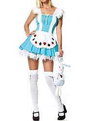 Sweet Girl poker padrão azul e branco de algodão traje de limpeza (2 peças)