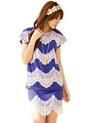 LEEYOUNG Lace Einfach Passende Fledermaus-Flügel-Hülsen-Kleid Big Size Lila