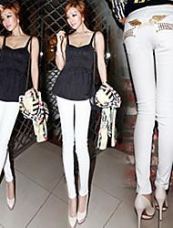 Wing de la broderie perlée des femmes Pantalon cigarette
