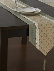 Classic Polyester Cotton Blend Green Print Floral Table Runners