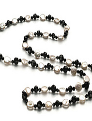 45 Inch Black And White Coin Pearl Imitated Crystal Womens Necklace