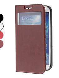 Echtes Leder-Kasten mit Sichtbare Bildschirm für Samsung Galaxy i9500 S4