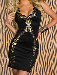 Black Foil Bodycon Dress