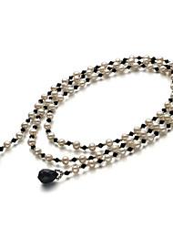 """Moderne A 7-8mm irrégulière d'eau douce 50 """"Silver Chain femmes collier de perles (plus de couleurs)"""