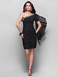 Cocktail Party Dress - Black Plus Sizes Sheath/Column One Shoulder Knee-length Chiffon