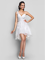 Cocktail Party / Homecoming / Prom / Sweet 16 / Graduation Dress - Ivory Plus Sizes / Petite A-line One Shoulder / V-neck Short/Mini
