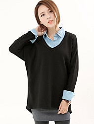 Women's Color Block Black Blouse/Shirt , Casual Long Sleeve