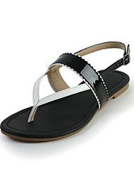 Great Leatherette Flat Heel Sandals with Buckle Casual Shoes