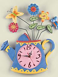 "18 ""h style moderne bouilloire printemps horloge murale"
