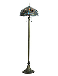 60W Retro Pretty Floor Light Inlaid With Vivid Dragonflies Of Yellow Eyes And Colorful Beads