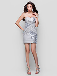Sheath/Column Strapless Sweetheart Short/Mini Chiffon Sequined Evening Dress