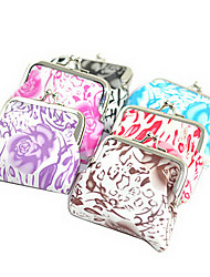 Flower Painting PU Leather Change Purse(Random Colors)