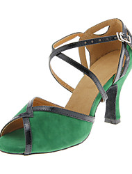Women's Dance Shoes Latin/Ballroom Suede Heel Green Customizable