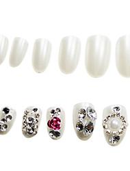 24Pcs Prunosus Rose Rhinestone Studded Nail Tips Pearl White With Glue