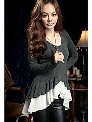 Women's Ruffle T-shirt , Chiffon/Fleece Beige/Gray/Purple Casual Long Sleeve