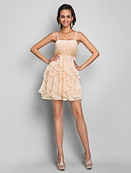 Sheath/Column Spaghetti Straps Short/Mini Chiffon Cocktail/Prom Dress