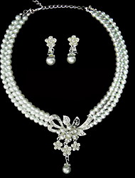 Elegant Alloy With Pearl Rhinestone Ladies' Jewelry Sets